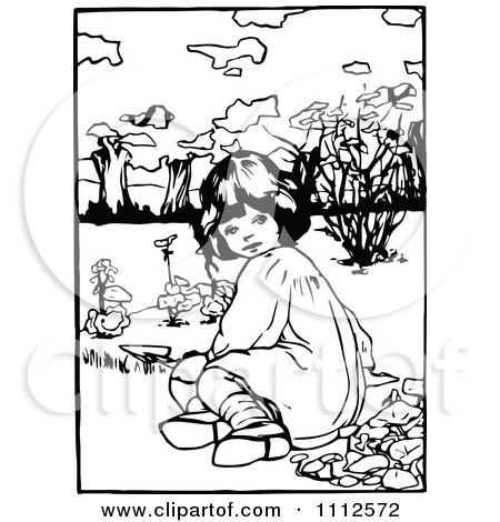Clipart Retro Black And White Girl Planting In A Garden - Royalty Free Vector Illustration by Prawny Vintage