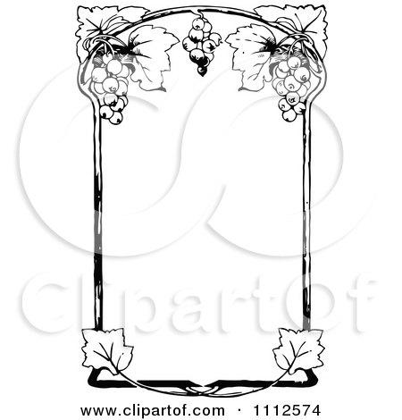 Clipart Black And White Ornate Vintage Grape Wine Frame - Royalty Free Vector Illustration by Prawny Vintage