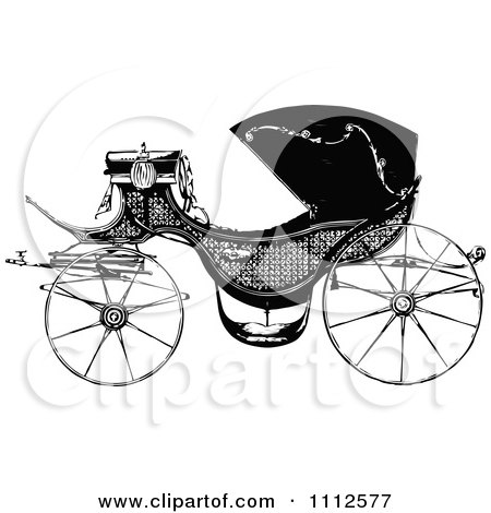 Clipart Vintage Black And White Carriage - Royalty Free Vector Illustration by Prawny Vintage