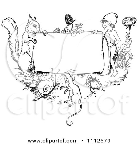 Clipart Black And White Vintage Frame With Animals And A Gnome - Royalty Free Vector Illustration by Prawny Vintage
