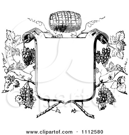 Clipart Black And White Vintage Frame With Wine Barrels And Grapes - Royalty Free Vector Illustration by Prawny Vintage