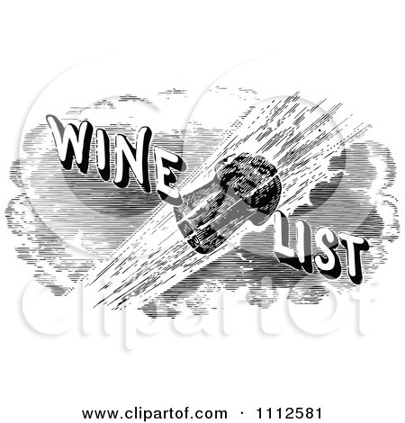 Clipart Vintage Black And White Cork Flying With Wine List Text - Royalty Free Vector Illustration by Prawny Vintage