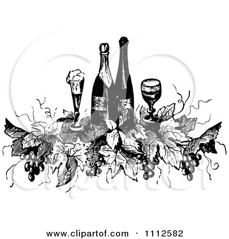 Clipart Vintage Black And White Wine Bottles Glasses Grapes And Leaves - Royalty Free Vector Illustration by Prawny Vintage