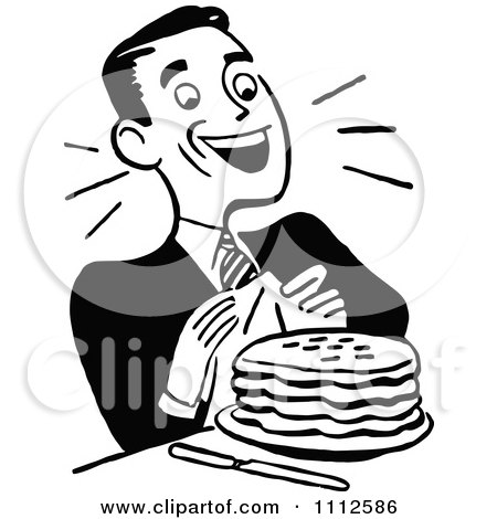 Clipart Retro Black And White Happy Man With Pancakes - Royalty Free Vector Illustration by Prawny Vintage