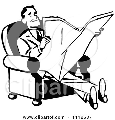 Clipart Retro Black And White Happy Man Reading A Newspaper - Royalty Free Vector Illustration by Prawny Vintage