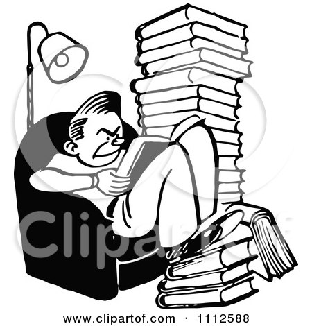 Clipart Retro Black And White Grumpy Reading Books And Studying - Royalty Free Vector Illustration by Prawny Vintage