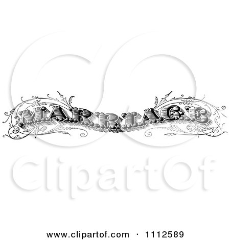 Clipart Vintage Black And White Marriage Text - Royalty Free Vector Illustration by Prawny Vintage