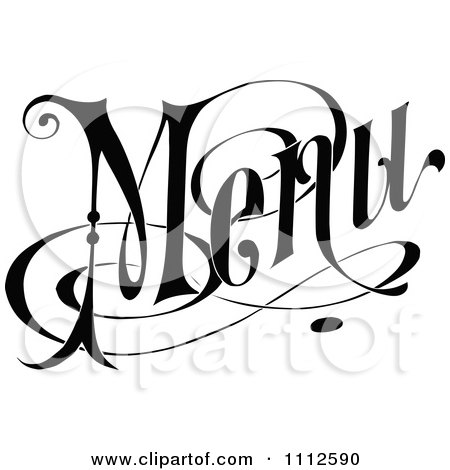 Clipart Vintage Black And White Menu Text 1 - Royalty Free Vector Illustration by Prawny Vintage
