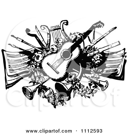 Clipart Vintage Black And White Guitar Lyre Horns And Other Instruments Over Sheet Music - Royalty Free Vector Illustration by Prawny Vintage