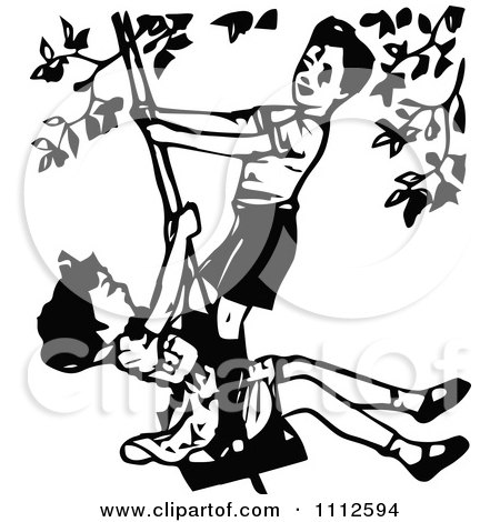 Clipart Retro Black And White Boy And Girl Playing On A Swing - Royalty Free Vector Illustration by Prawny Vintage