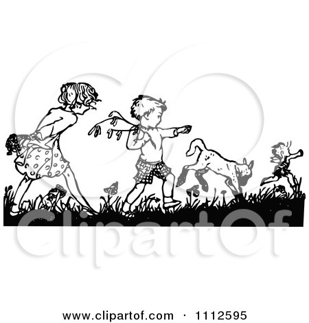 Clipart Retro Black And White Boy And Girl Picking Flowers - Royalty Free Vector Illustration by Prawny Vintage
