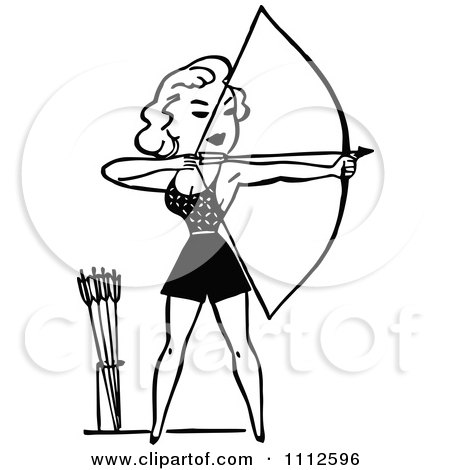 Clipart Black And White Retro Woman Archer Royalty Free Vector Illustration