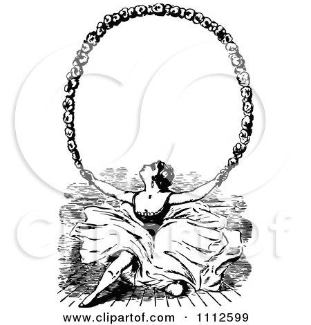 Clipart Vintage Ballerina Holding Up A Floral Frame - Royalty Free Vector Illustration by Prawny Vintage