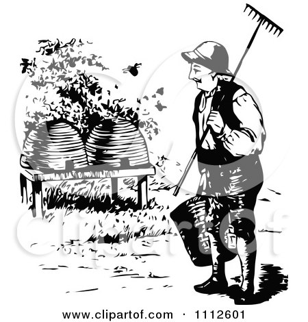 Clipart Retro Black And White Beekeeper Approaching Hives - Royalty Free Vector Illustration by Prawny Vintage