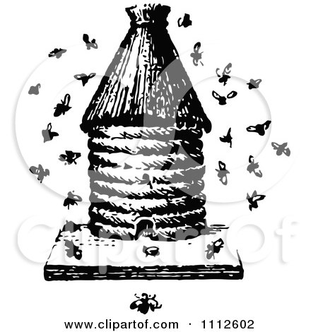 Retro Black And White Apiology Bee Hive With A Swarm Posters, Art Prints