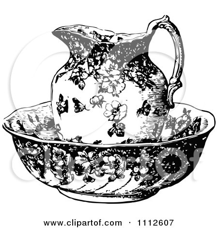 Clipart Vintage Black And White Pitcher In A Bowl - Royalty Free Vector Illustration by Prawny Vintage