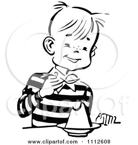 Clipart Black And White Retro Happy Boy Eating Dessert - Royalty Free Vector Illustration by Prawny Vintage