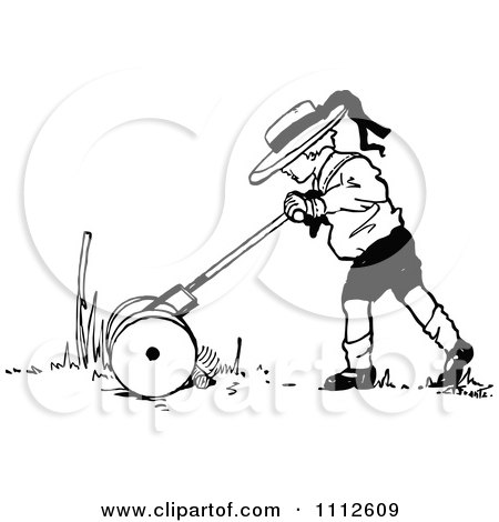 Clipart Retro Black And White Boy Mowing A Lawn - Royalty Free Vector Illustration by Prawny Vintage