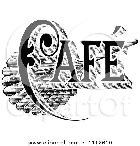 Clipart Vintage Black And White Cafe Sign 1 - Royalty Free Vector Illustration by Prawny Vintage
