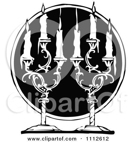 Clipart Black And White Vintage Pair Of Candle Sticks Over A Black Circle - Royalty Free Vector Illustration by Prawny Vintage