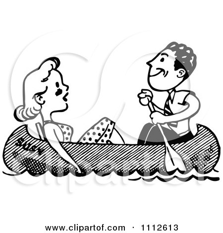Clipart Retro Black And White Couple In A Boat - Royalty Free Vector Illustration by Prawny Vintage