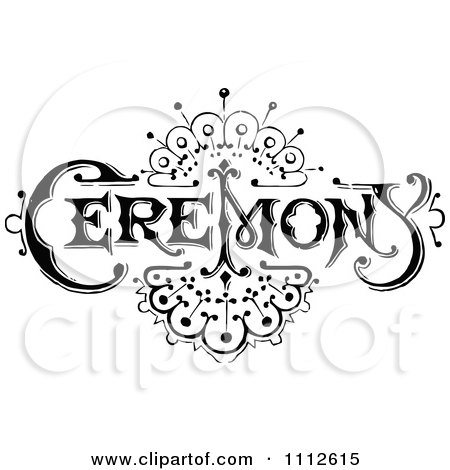 Clipart Vintage Black And White Ceremony Sign With An Art Deco Design - Royalty Free Vector Illustration by Prawny Vintage