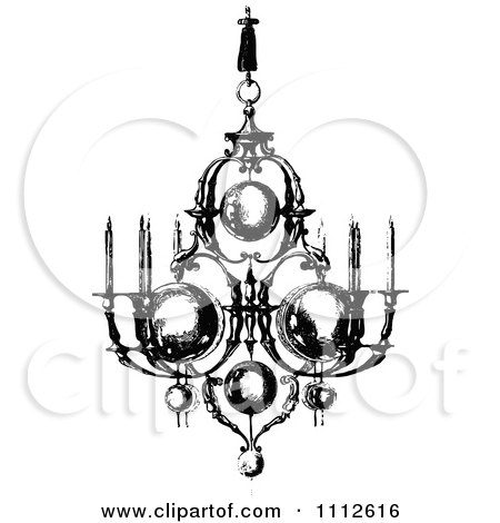 Clipart Vintage Black And White Ornate Chandelier With Candles - Royalty Free Vector Illustration by Prawny Vintage