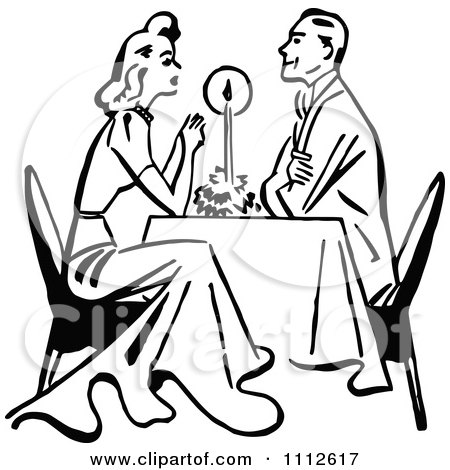 Clipart Retro Black And White Couple Dining By Candle Light - Royalty Free Vector Illustration by Prawny Vintage