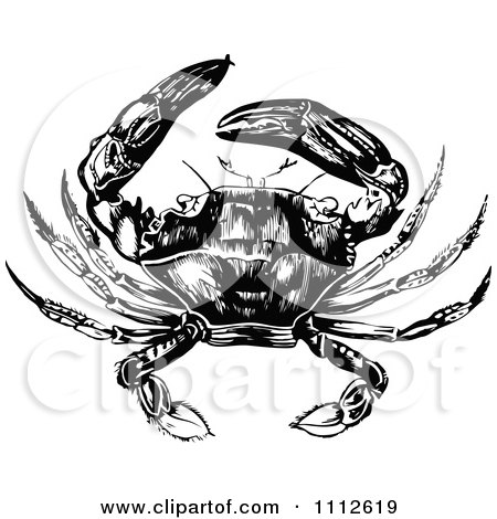 Clipart Black And White Vintage Crab 2 - Royalty Free Vector Illustration by Prawny Vintage