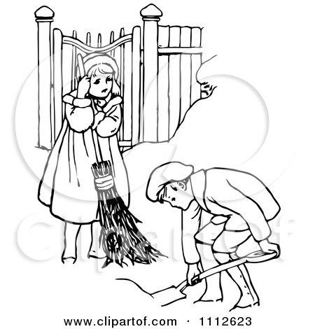 Clipart Retro Black And White Children Shoveling Snow - Royalty Free Vector Illustration by Prawny Vintage