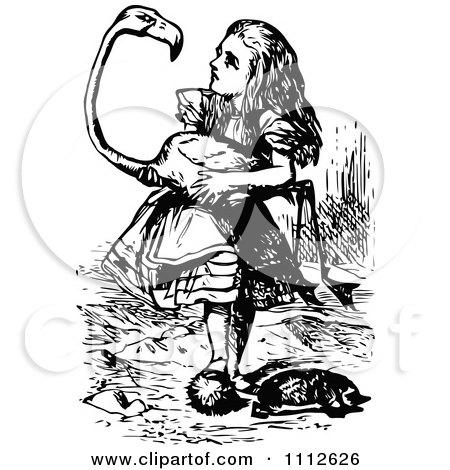 clipart alice playing croquet with a flamingo in