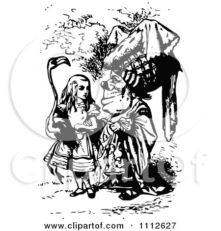 Clipart Alice Carrying A Flamingo And Talking To Queen In Wonderland - Royalty Free Vector Illustration by Prawny Vintage