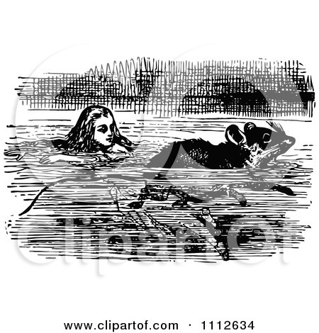 Clipart Alice Swimming With A Mouse In Wonderland - Royalty Free Vector Illustration by Prawny Vintage