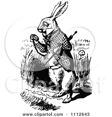 Clipart The White Rabbit Checking His Pocket Watch In Wonderland - Royalty Free Vector Illustration by Prawny Vintage