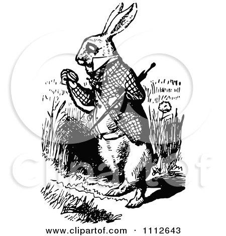 The white rabbit checking his pocket watch in wonderland