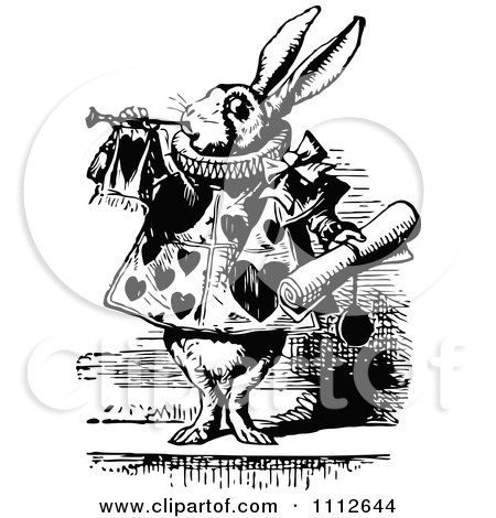 Clipart The White Rabbit Servant Tooting A Horn And Holding A Notice In Wonderland - Royalty Free Vector Illustration by Prawny Vintage