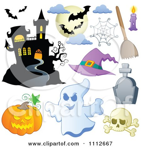 Clipart Halloween Haunted House Bats Spider Web Pumpkin Ghost Skull And Tombstone - Royalty Free Vector Illustration by visekart