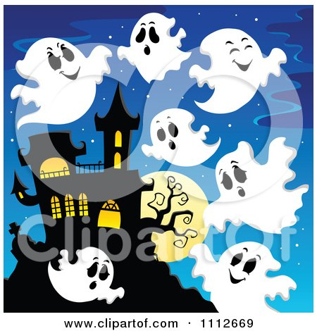 Clipart Of A Sketched Black And White Haunted House With A ...