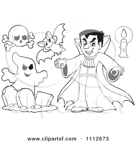 Clipart Outlined Halloween Skull Bat Vampire Candle And Ghost - Royalty Free Vector Illustration by visekart
