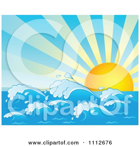 Clipart Sun Rising Over Ocean Waves - Royalty Free Vector Illustration by visekart