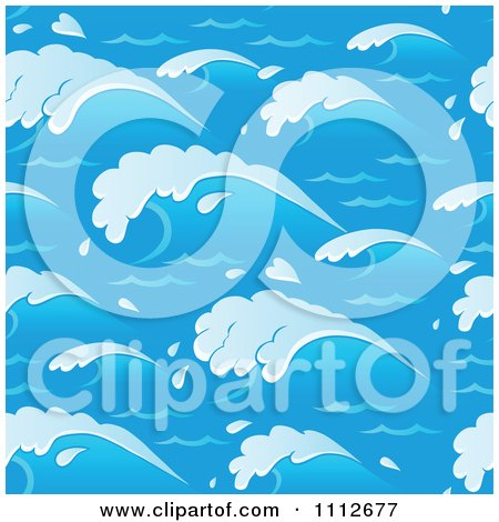 Clipart Seamless Blue Ocean Wave Background Pattern - Royalty Free Vector Illustration by visekart