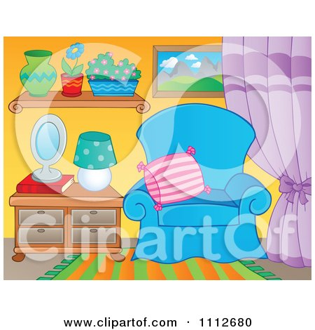 Clipart Blue Chair In A Living Room