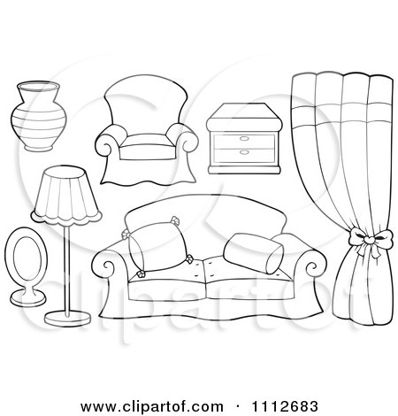 coloring pages simple living room - photo#28