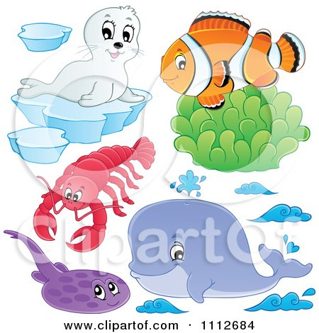 Clipart Clownfish Over Soft Corals With A Seal Lobster Flounder And Whale - Royalty Free Vector Illustration by visekart