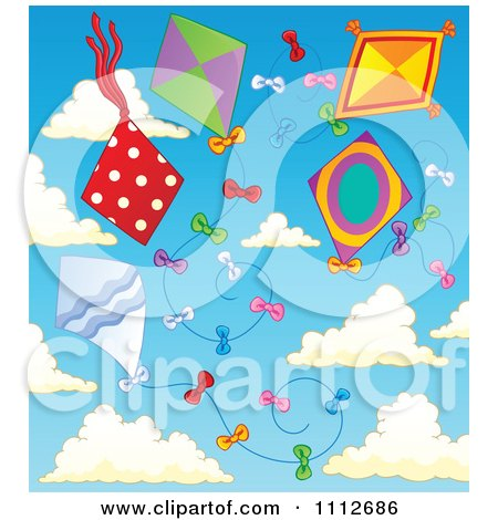 Clipart Kites Flying In A Cloudy Sky - Royalty Free Vector Illustration by visekart