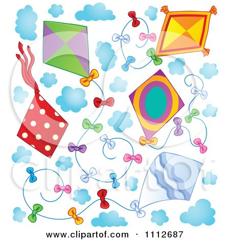 Clipart Kites Flying In A Sky With Clouds - Royalty Free Vector Illustration by visekart