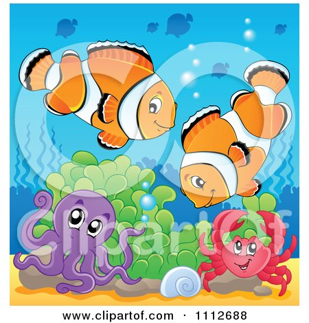 Clipart Clownfish Pair Over An Octopus And Crab In Soft Corals - Royalty Free Vector Illustration by visekart