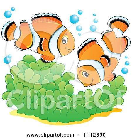 Clipart Clownfish Pair Over Soft Corals - Royalty Free Vector Illustration by visekart