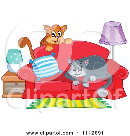 Clipart Cats Playing And Sleeping On A Sofa - Royalty Free Vector Illustration by visekart