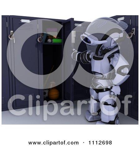 3d Robot Opening His School Locker Posters, Art Prints